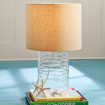West elm wavy glass lamp
