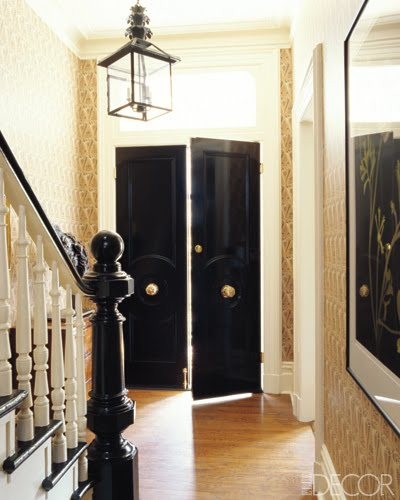 Black door entry elle decor